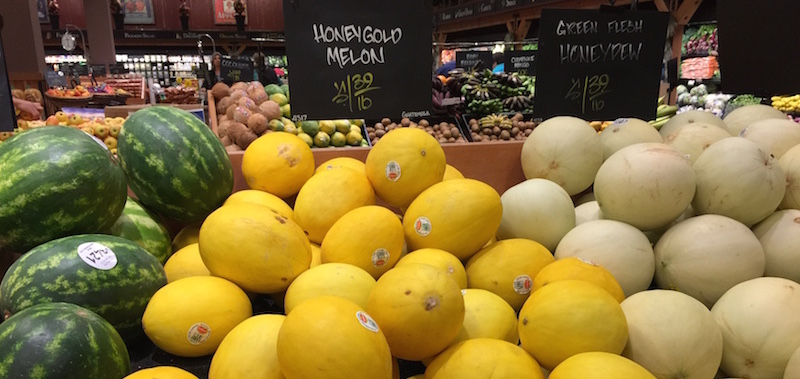 Honeygold melons at Chuck's Produce