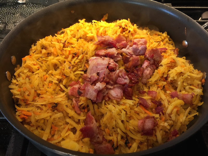 Cooked down with bacon added